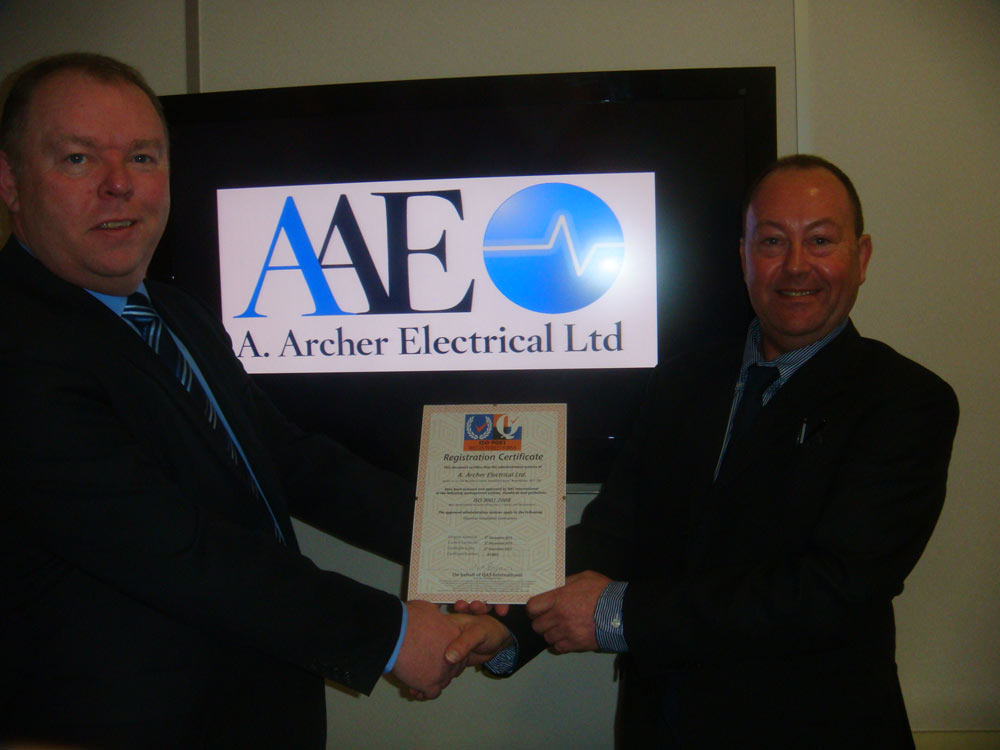 A Archer Electrical Limited Awarded ISO 9001:2008 Quality Management